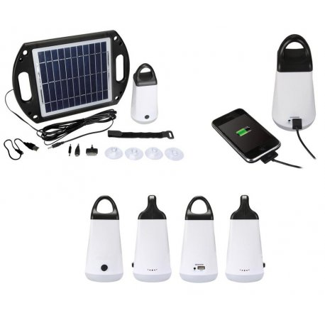 Station solaire autonome lampe LED 3W et sortie USB