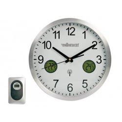 Horloge météo radiopilotée à aiguilles avec affichage des températures intérieure et extérieure