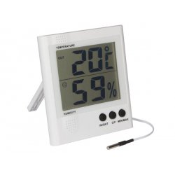 Thermomètre hygromètre digital à sonde et grand écran LCD