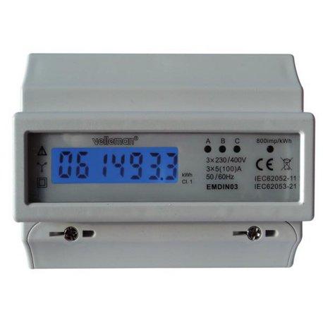 Compteur électrique EMDIN03 impulsionnel triphasé LCD DIN