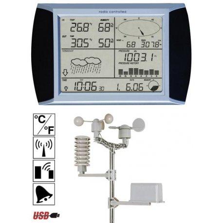 Station météo PC USB PRO à enregistrement des données et écran tactile radioguidée