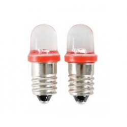 Lot de 2 ampoules E10 LED rouge 12V
